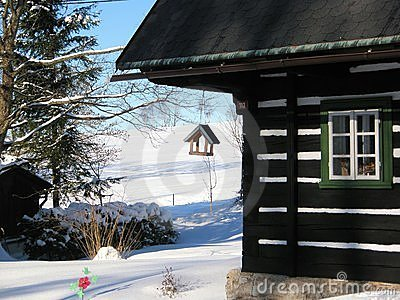 Winter cottage with cratch