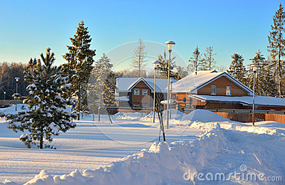 Winter countryside snowy houses cottage in morning