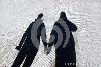 Winter couple shadow