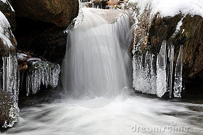 Winter creek in the national park Sumava