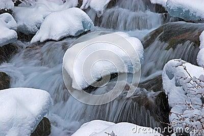 Winter creek during snowfall