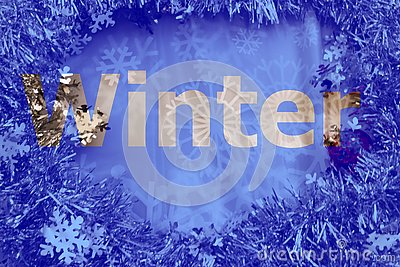 Winter cut out letters on glitter and snowflake background Stock Photo