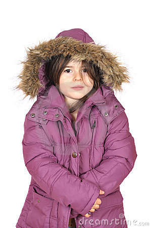 Winter cutie-portrait of a young girl in a hood