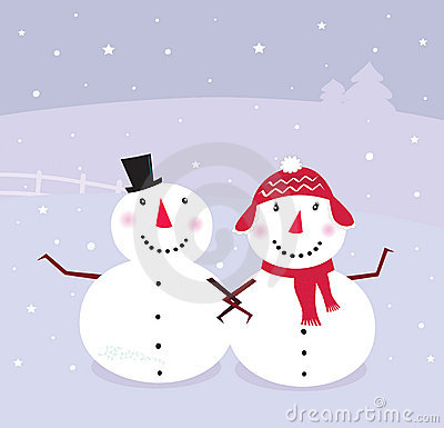 Winter day: Snowman & Snow - woman,