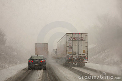 Winter Driving Conditions Editorial Stock Photo