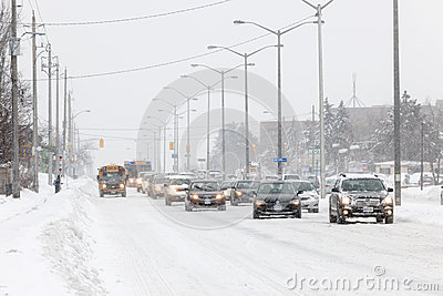 Winter driving in Toronto Editorial Stock Image