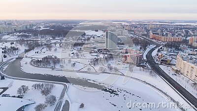 Winter Drone Shot Of The Minsk City Centre Snow Sunny Day
