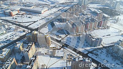 Winter Drone Shot Of The Minsk City Snow Sunny Day