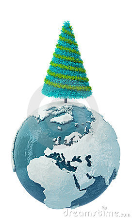 Winter Earth globe with Christmas Tree-2