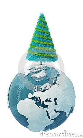 Winter Earth globe with Christmas Tree-2