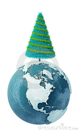 Winter Earth globe with Christmas Tree