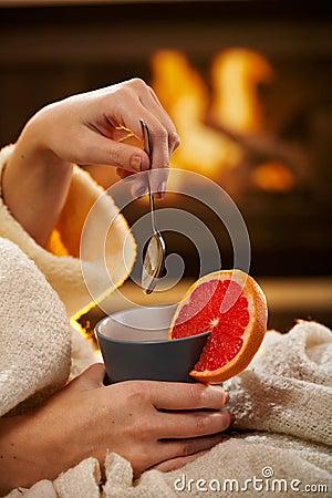 Winter evening with hot tea