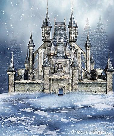 Winter fairytale castle Stock Photo