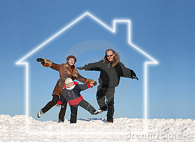 Winter family in dream house