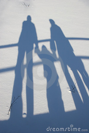 Free Winter Family Shadow Royalty Free Stock Photo - 1876625