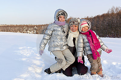 Winter family snow fun outdoors