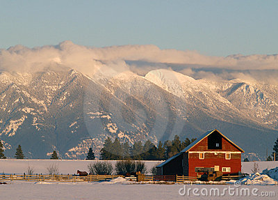 Winter Farm and Mountains
