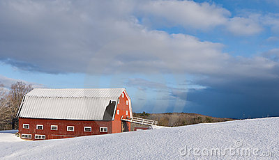 Winter Farm Scene with Red Barn