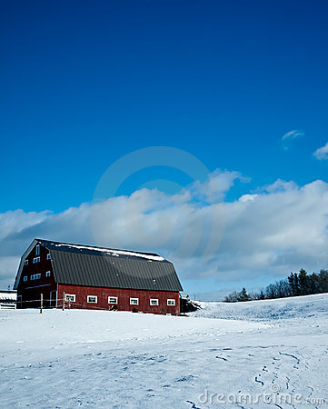 Winter Farm Scene with red barn and snow