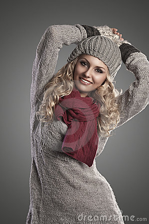 Winter fashion girl in grey wool