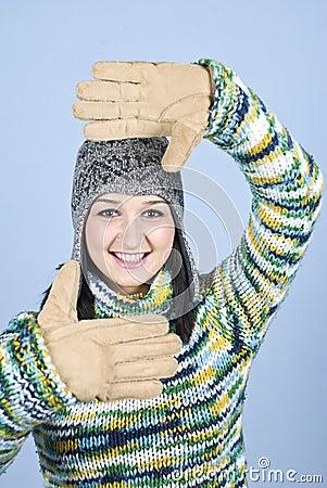 Winter female frame face