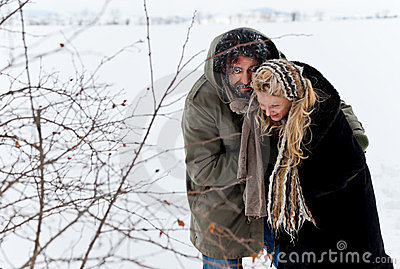 Winter field strugle couple