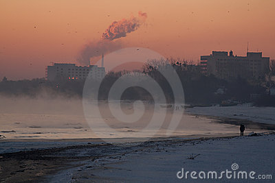 Winter foggy, sunrise at seaside