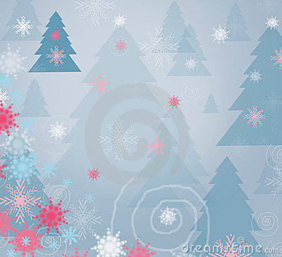 Winter forest background - card