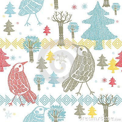Winter forest with birds