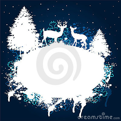 Winter forest grunge paint design