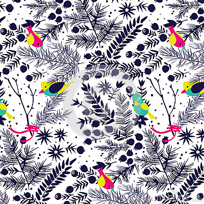 Free Winter Forest With Birds Pattern. Royalty Free Stock Images - 41941749