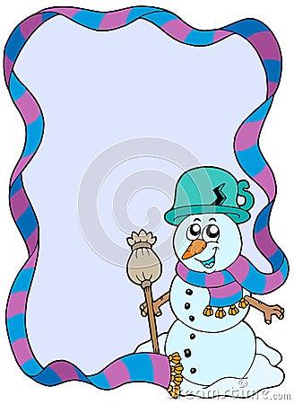 Winter frame with cartoon snowman