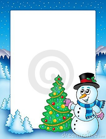 Winter frame with snowman and tree