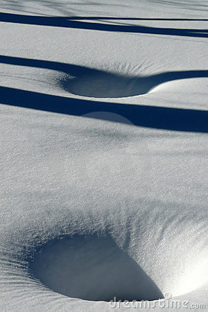 Winter: fresh snow with sink holes