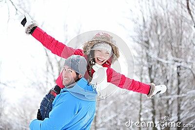 Winter fun couple