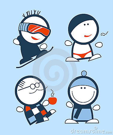 Winter funny people icons