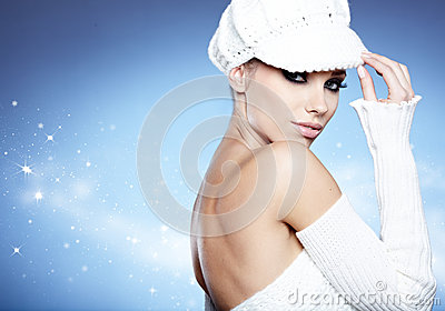 Winter girl on the blue  background