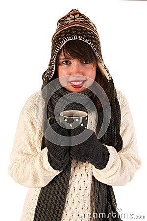 Winter girl drinking hot chocolate