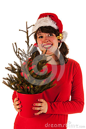 Winter girl with hat Santa Claus
