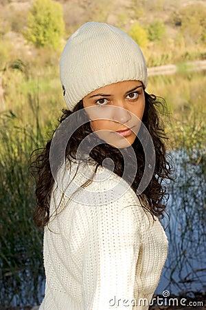 Winter girl by lake