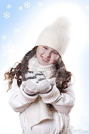 Winter Girl snow flake blue background