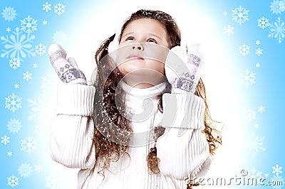 Winter Girl snow flake blue background