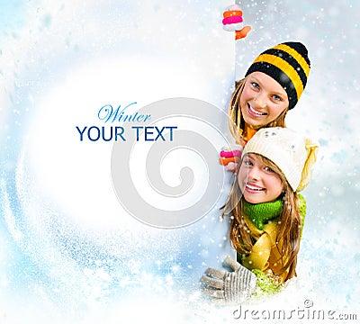 Free Winter Girls.Snow Stock Photo - 22091940