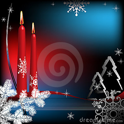 Winter greeting with candles