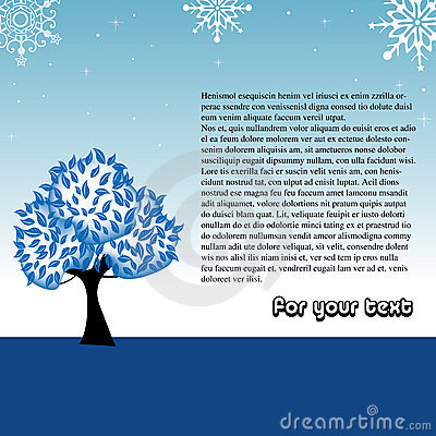 Winter greeting with tree