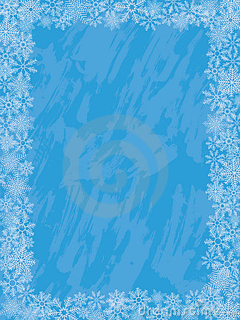 Winter grunge background with a snowflakes.