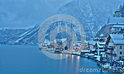 Winter in Hallstatt, the pearl of Austria