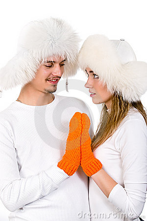 Winter happy  lovers