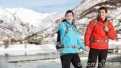 Winter hiking couple