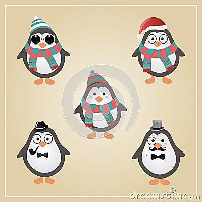 Free Winter Hipster Penguins Illustration Stock Photo - 36072350